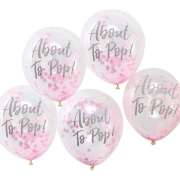 """About to Pop"" Pink Confetti Balloons"